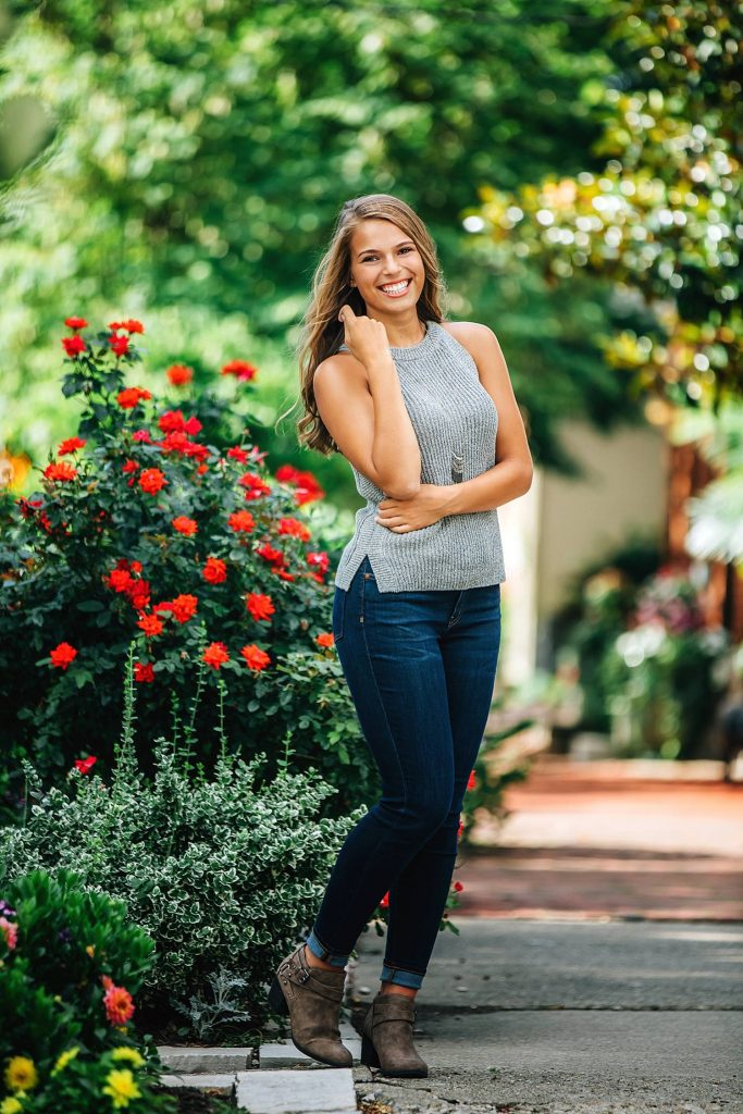 senior portrait by garden in german village columbus