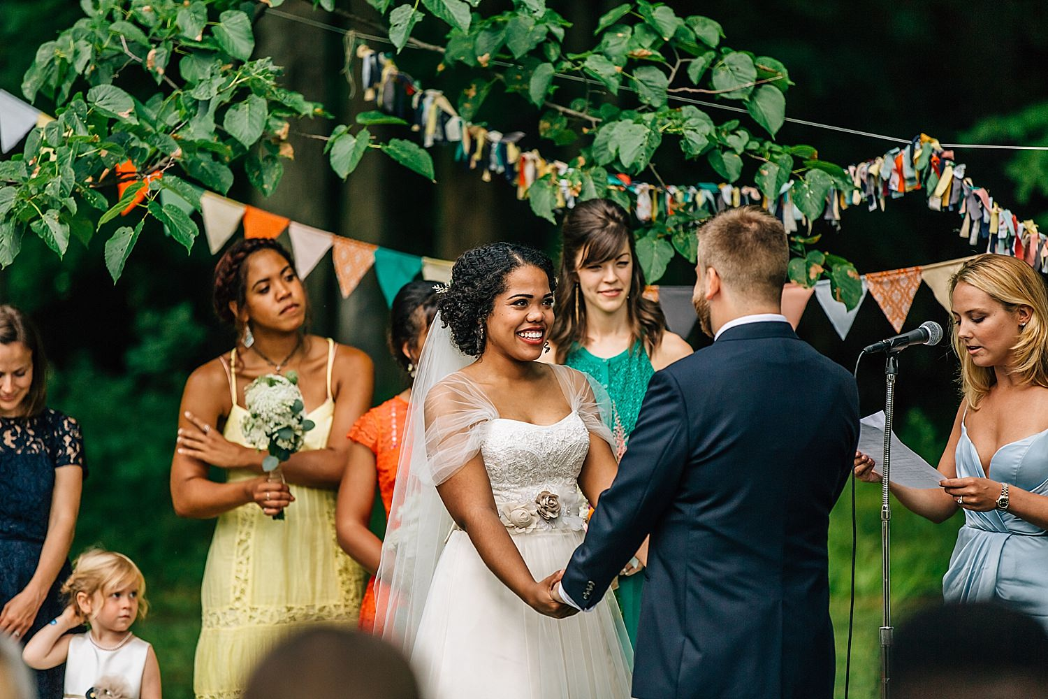 colorful outdoor biracial wedding in bowling green ohio