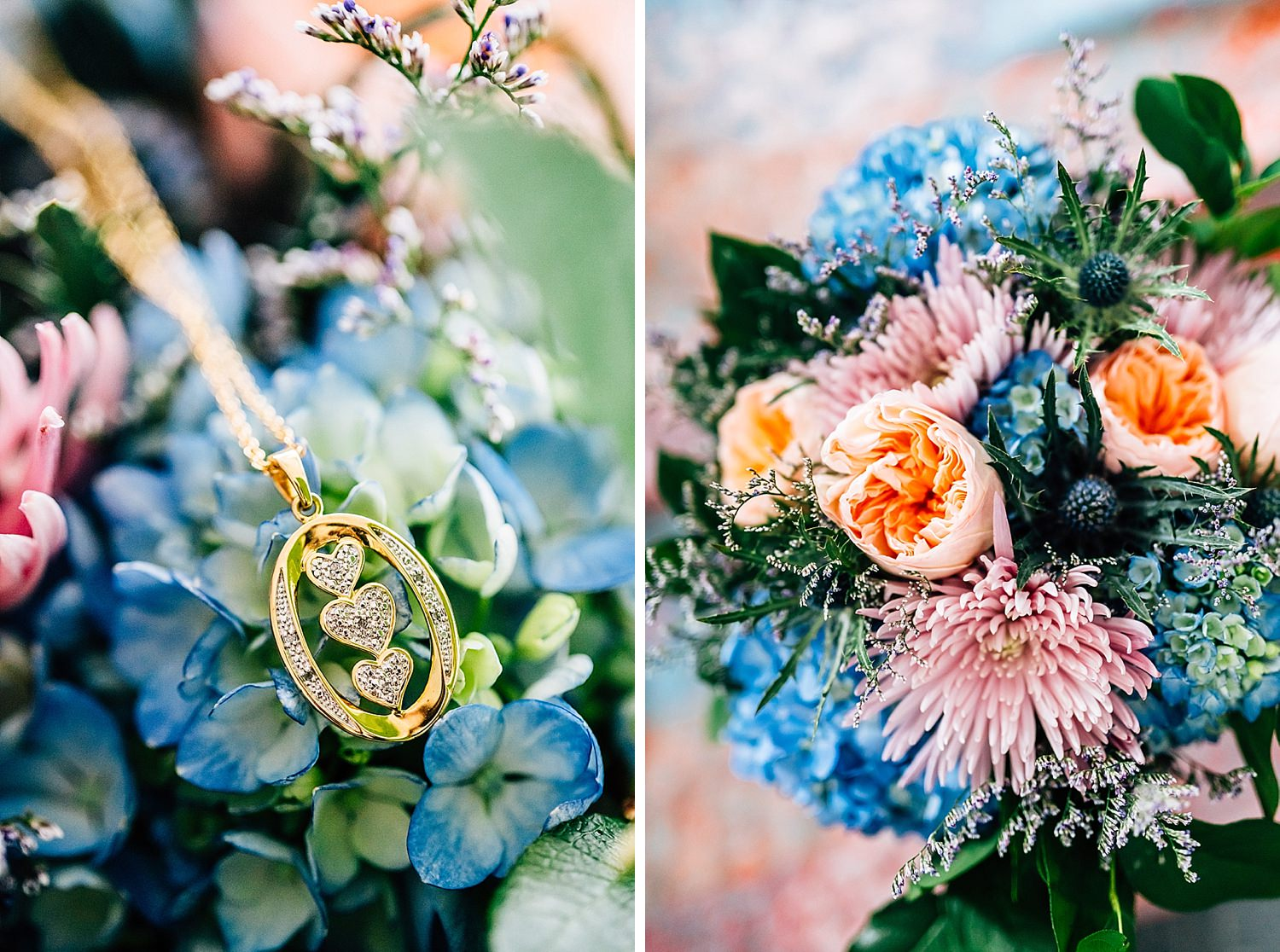 jewelry shown on flowers for wedding in church in delaware ohio