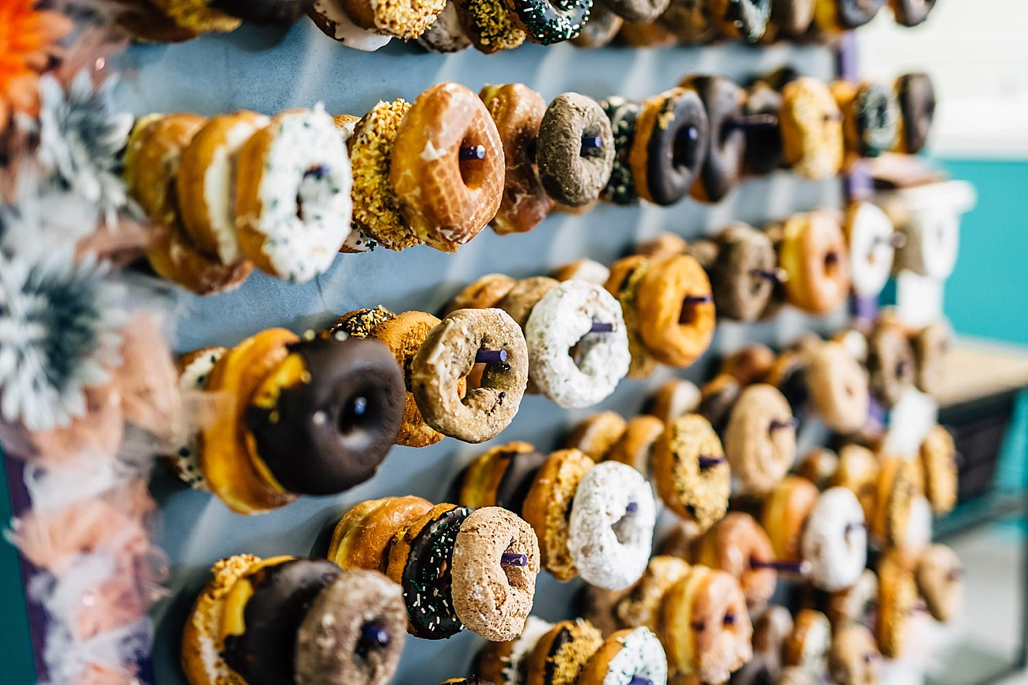 donut wall at reception of church wedding in delaware ohio