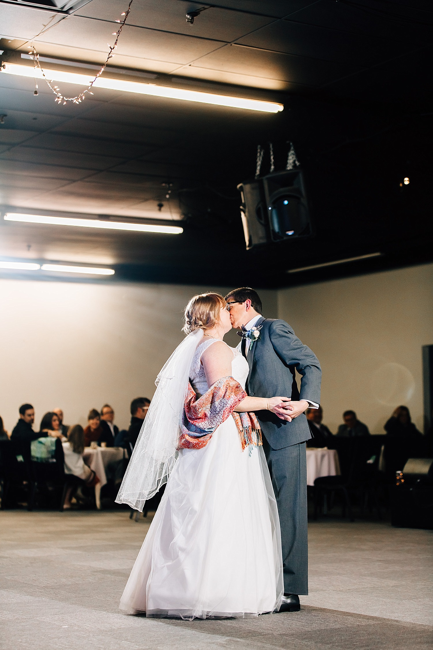 bride and groom first dance during reception of church wedding in delaware ohio