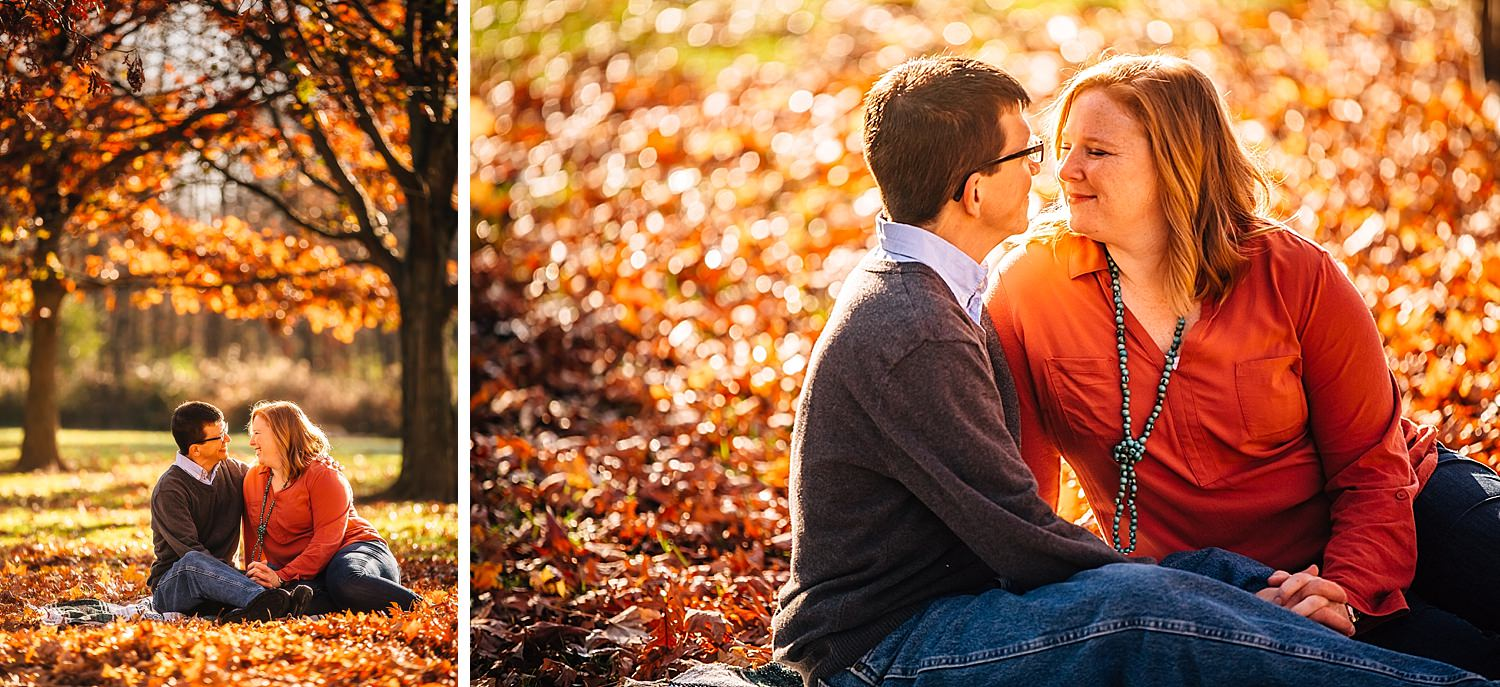 engaged couple in westerville ohio in autumn