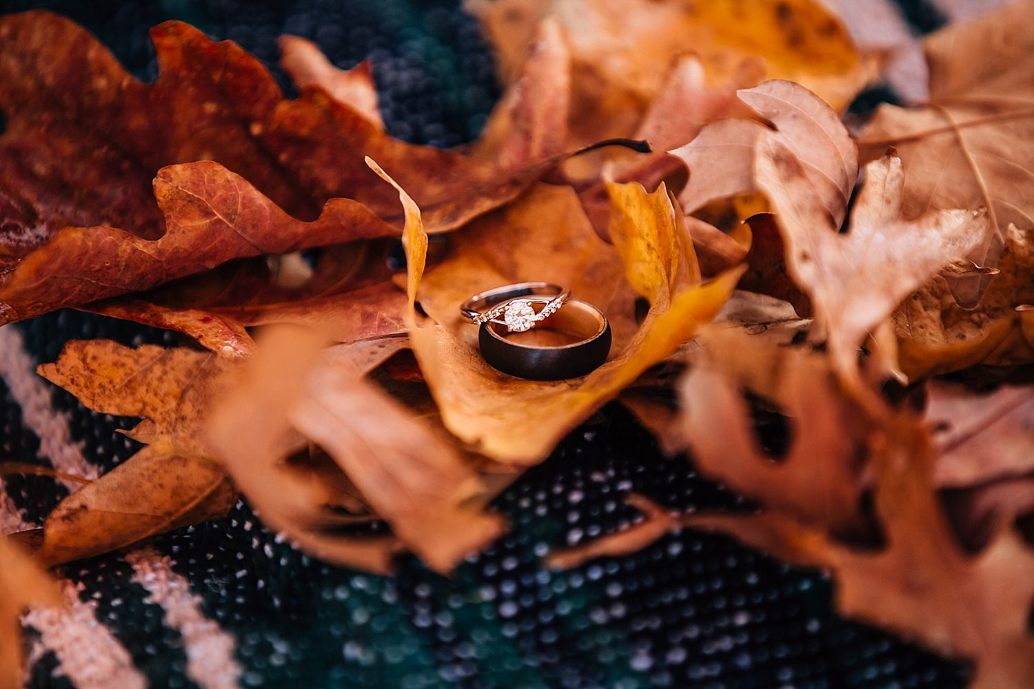 engagement ring on fall leaves in westerville ohio