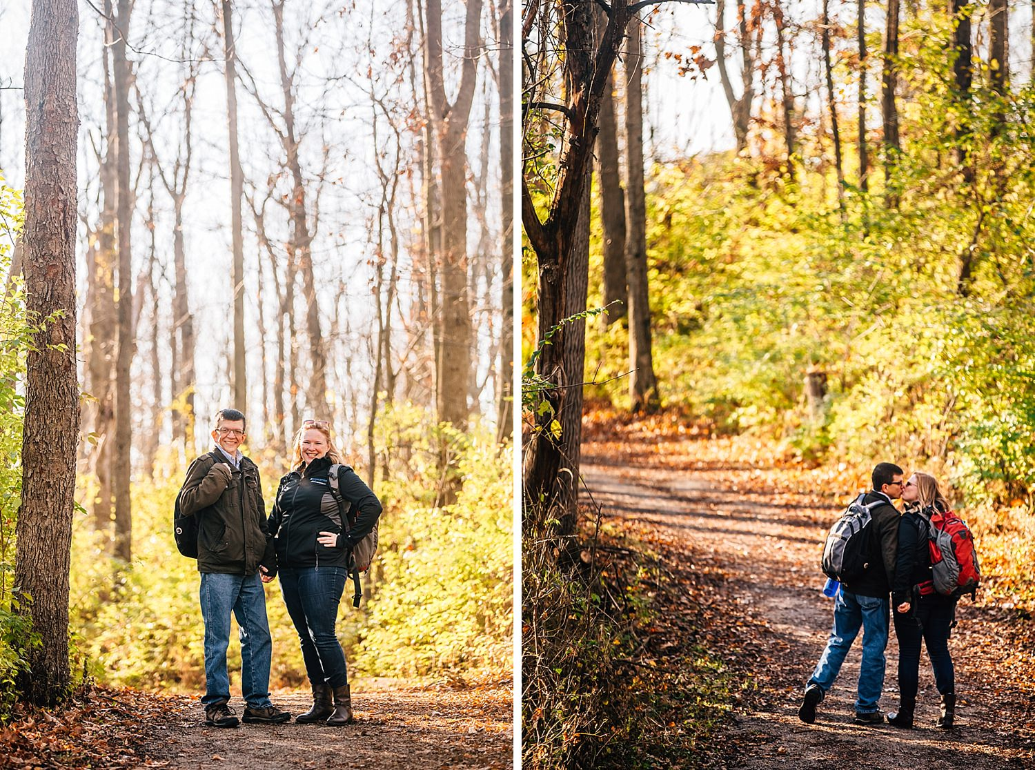 engaged couple hiking and holding hands together in westerville ohio