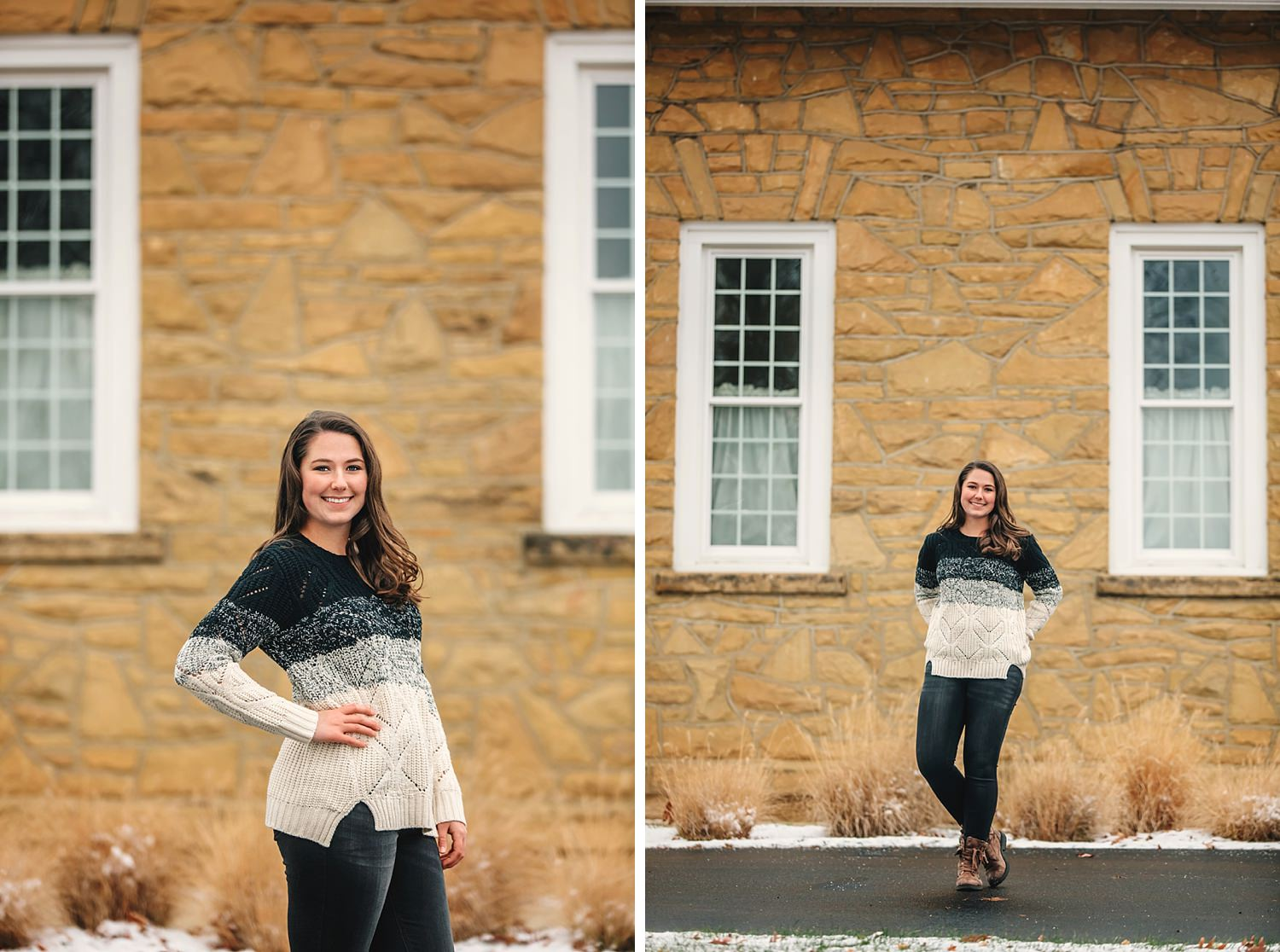 high school senior poses for outdoor natural light senior portraits at bryn du mansion granville ohio