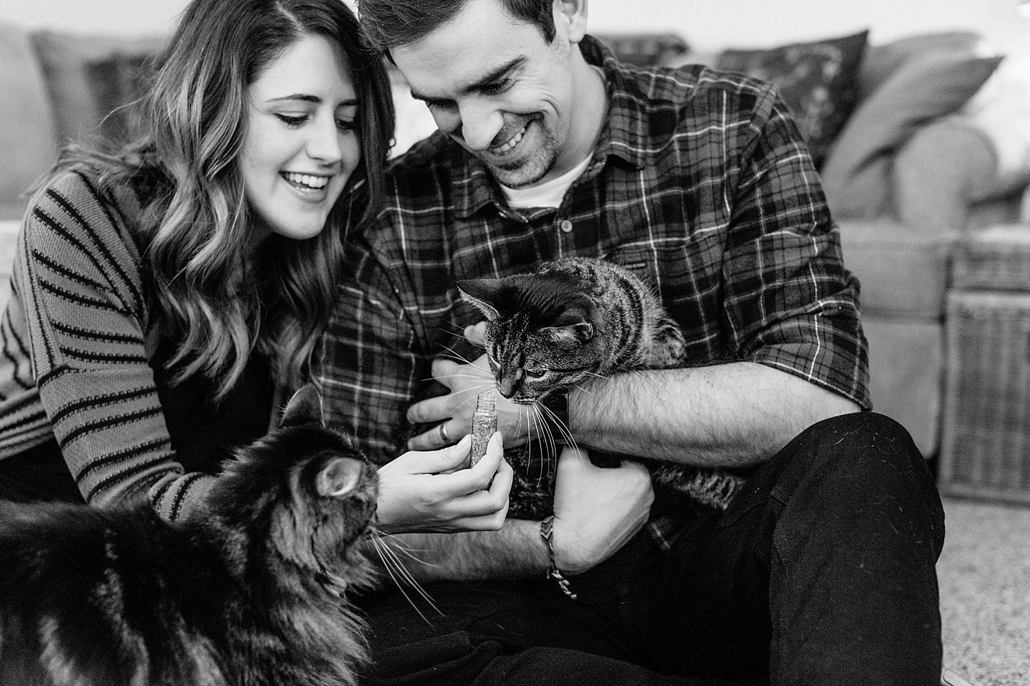 indoor black and white lifestyle family photos with cats in delaware ohio