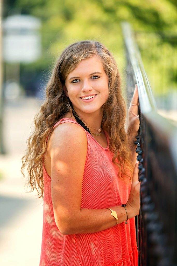outdoor natural light High school senior portraits downtown granville ohio