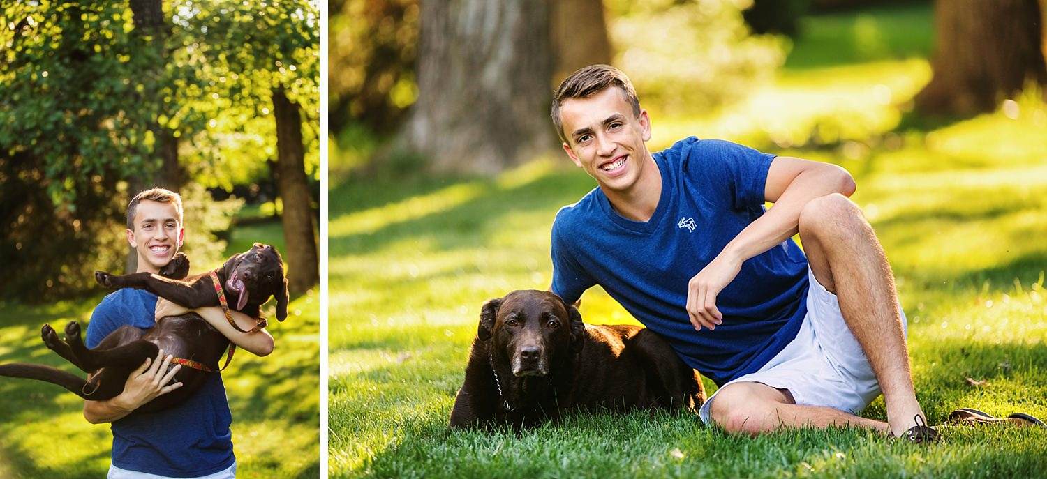 outdoor natural light High school senior portraits with dog granville ohio