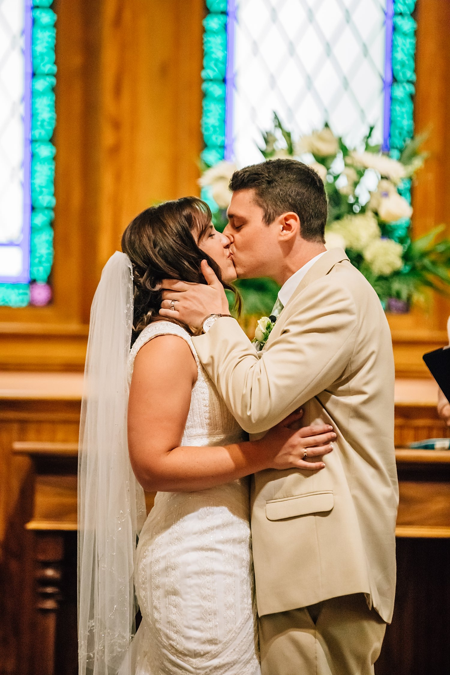 bride and groom at church wedding in columbus ohio