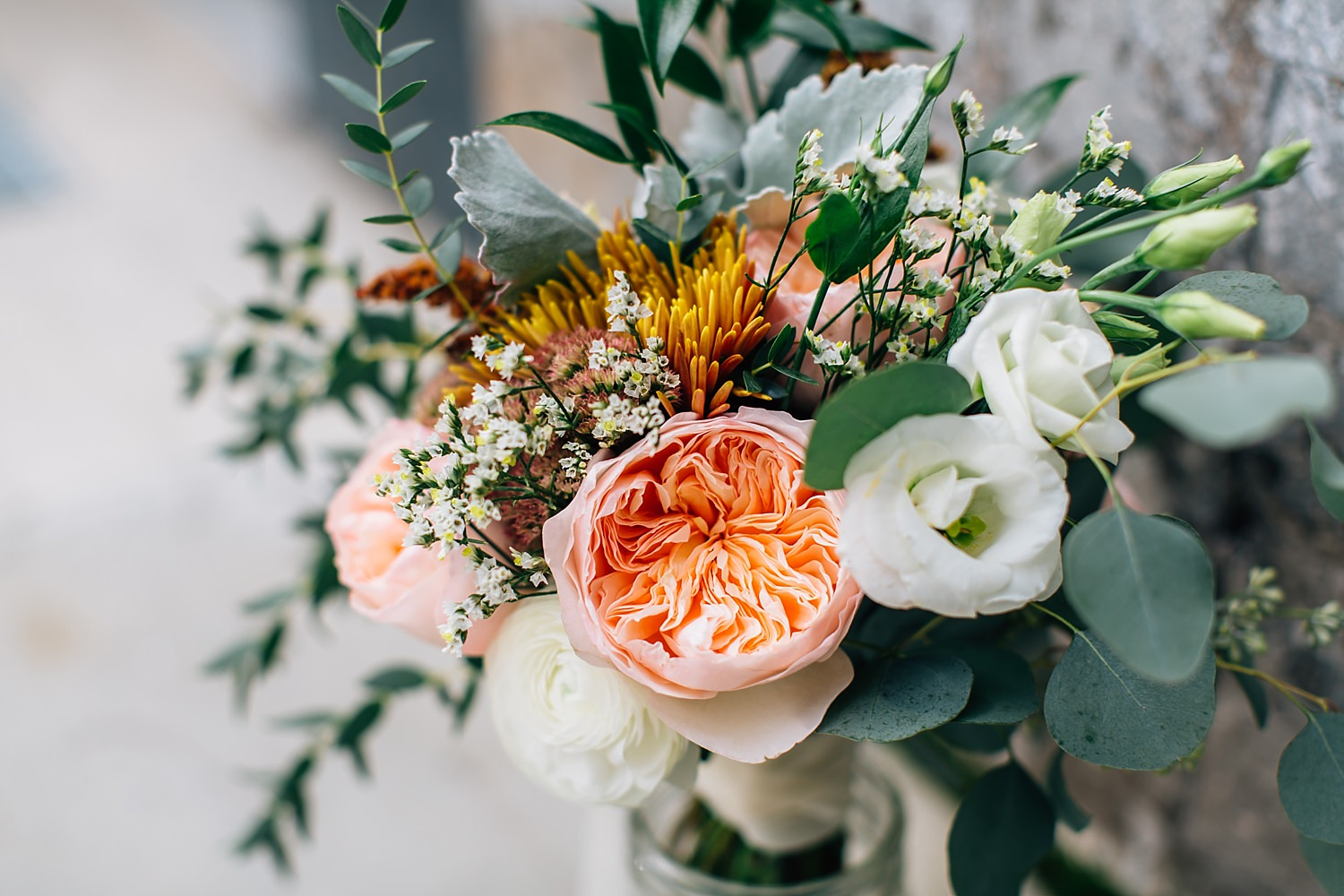 bridal floral bouquet in natural light
