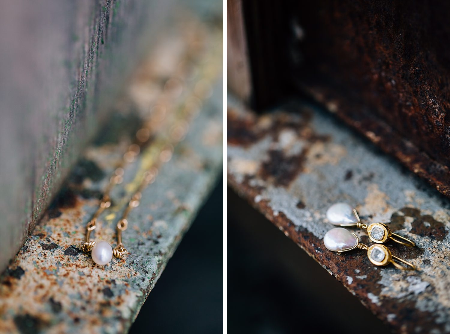 bridal jewelry in natural light outdoors