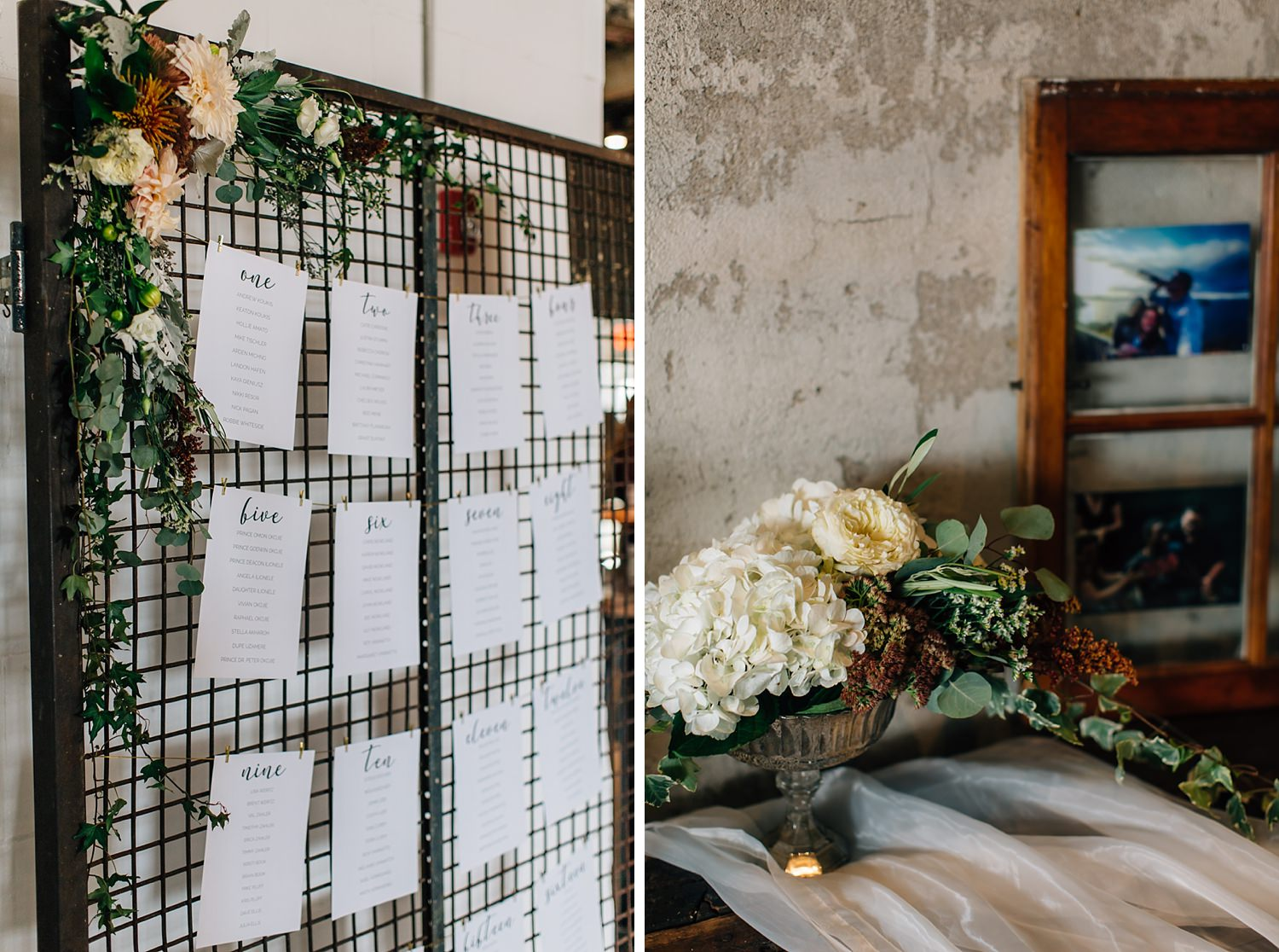 indoor reception with greenery and gold accents