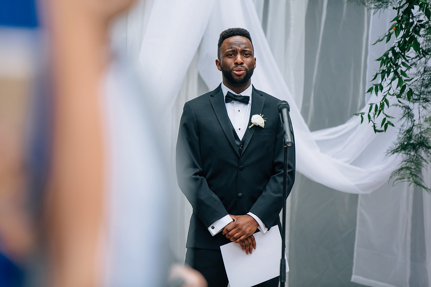 groom crying during ceremony after seeing bride for first time