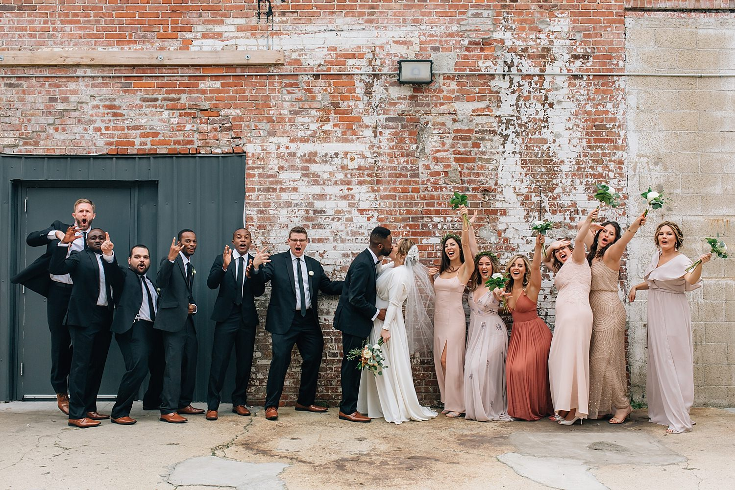 wedding party portraits at strongwater venue in columbus ohio