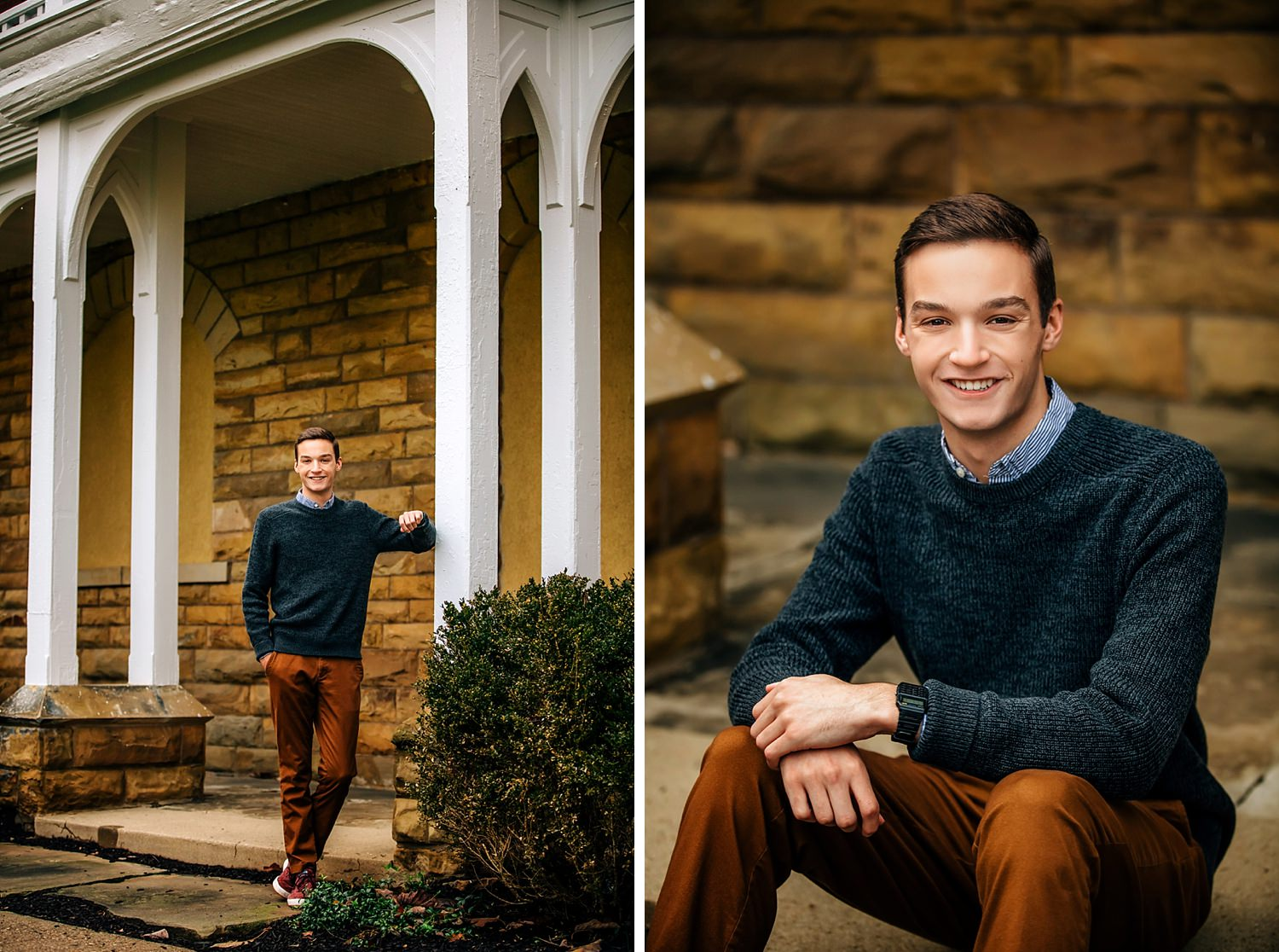 high school boy posing for senior portraits outside during Fall at denison university