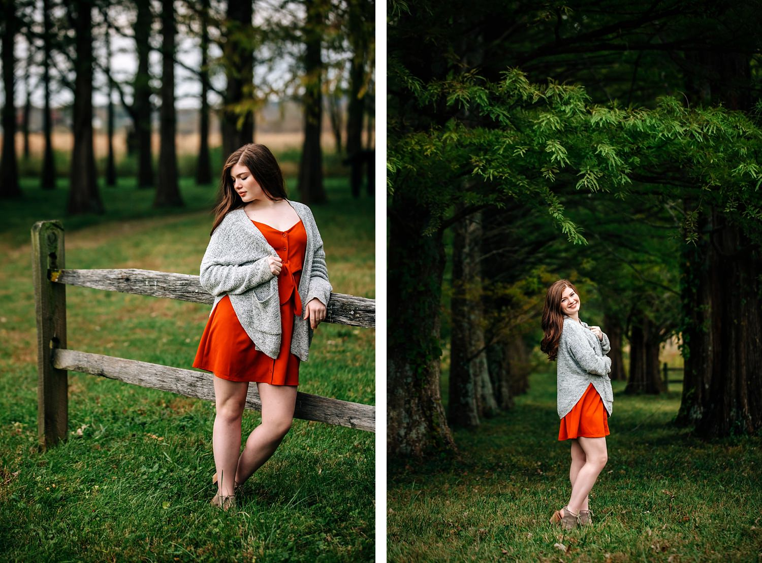 senior portrait of red head girl in woods leaning against fence in granville ohio