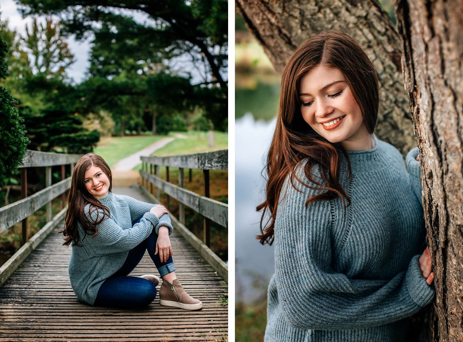 senior portrait of girl outside in nature on bridge and leaning against tree