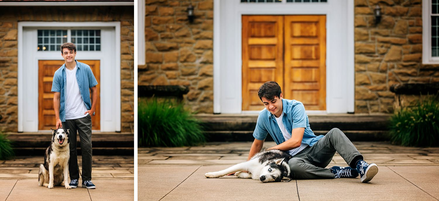 senior guy posing with dog outdoors at bryn du mansion