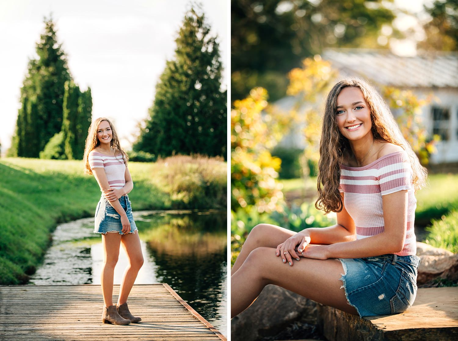 high school senior girl posing for senior portraits at dawes arboretum by sara devere formerly sara long photography