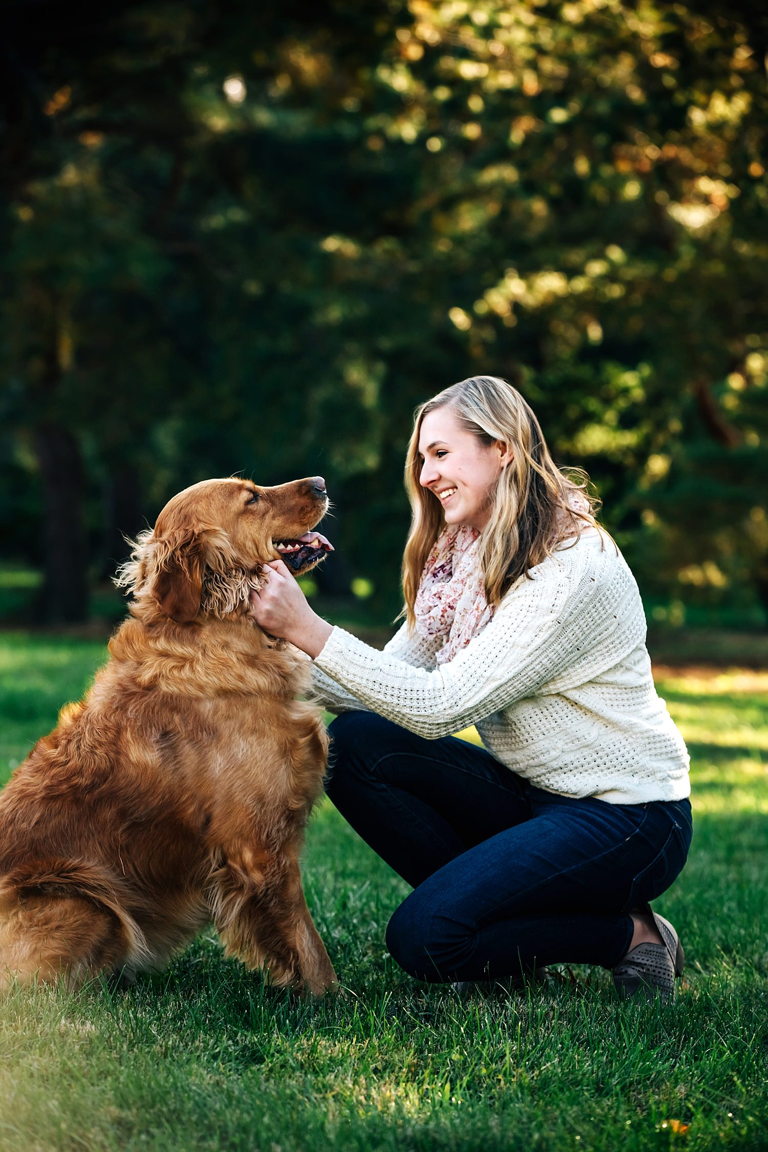 senior portrait with girl and dog outside by sara devere