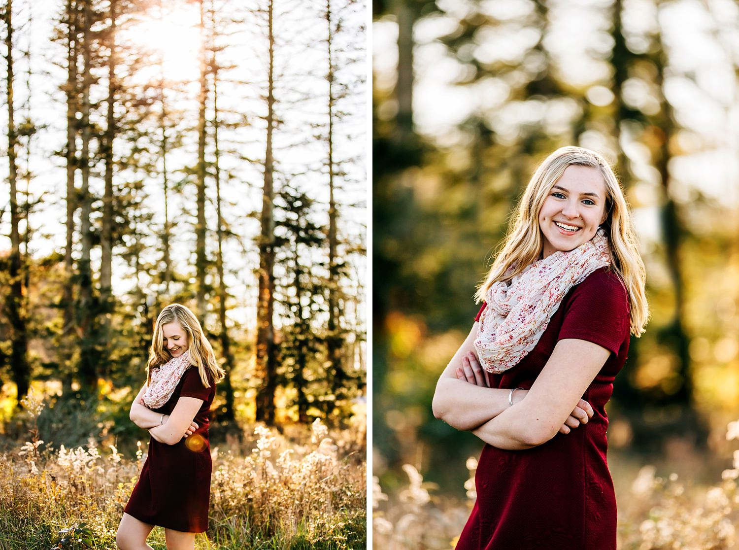 girl standing in field with woods behind her for senior portraits in granville ohio