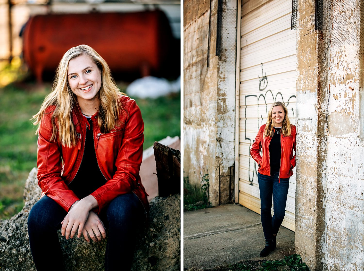 senior portraits in urban city leaning against wall wearing red jacket in newark ohio
