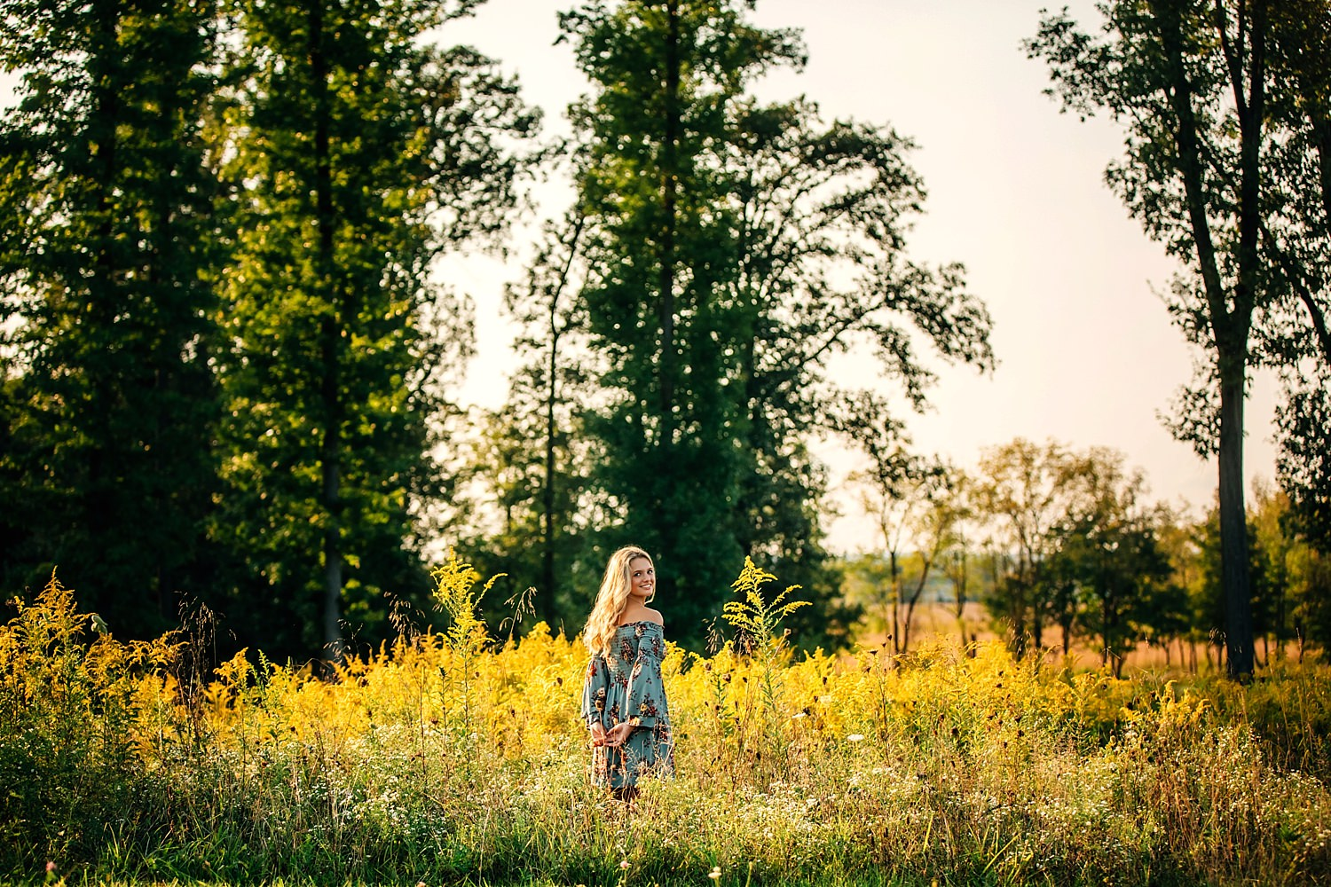 senior portrait of girl in field of golden rods in granville ohio