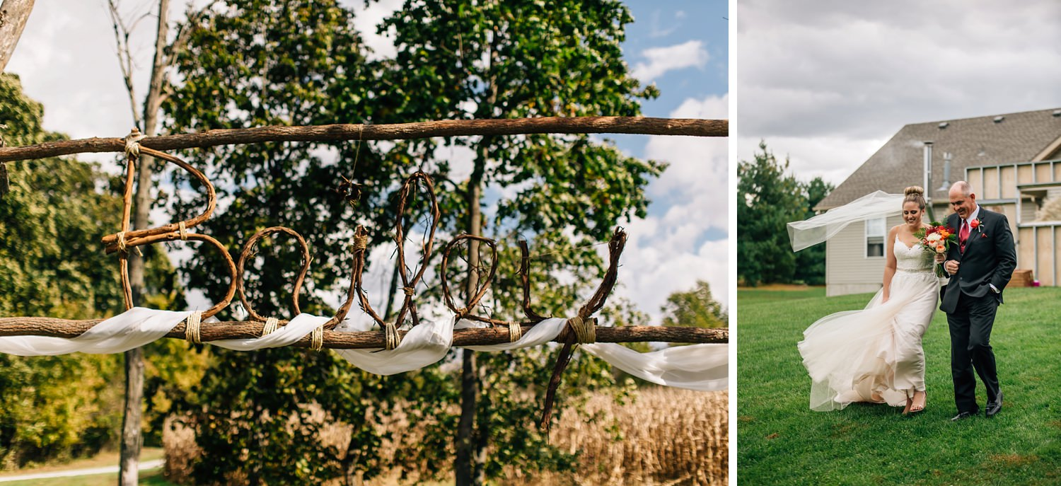 ceremony details from intimate backyard wedding in johnstown ohio