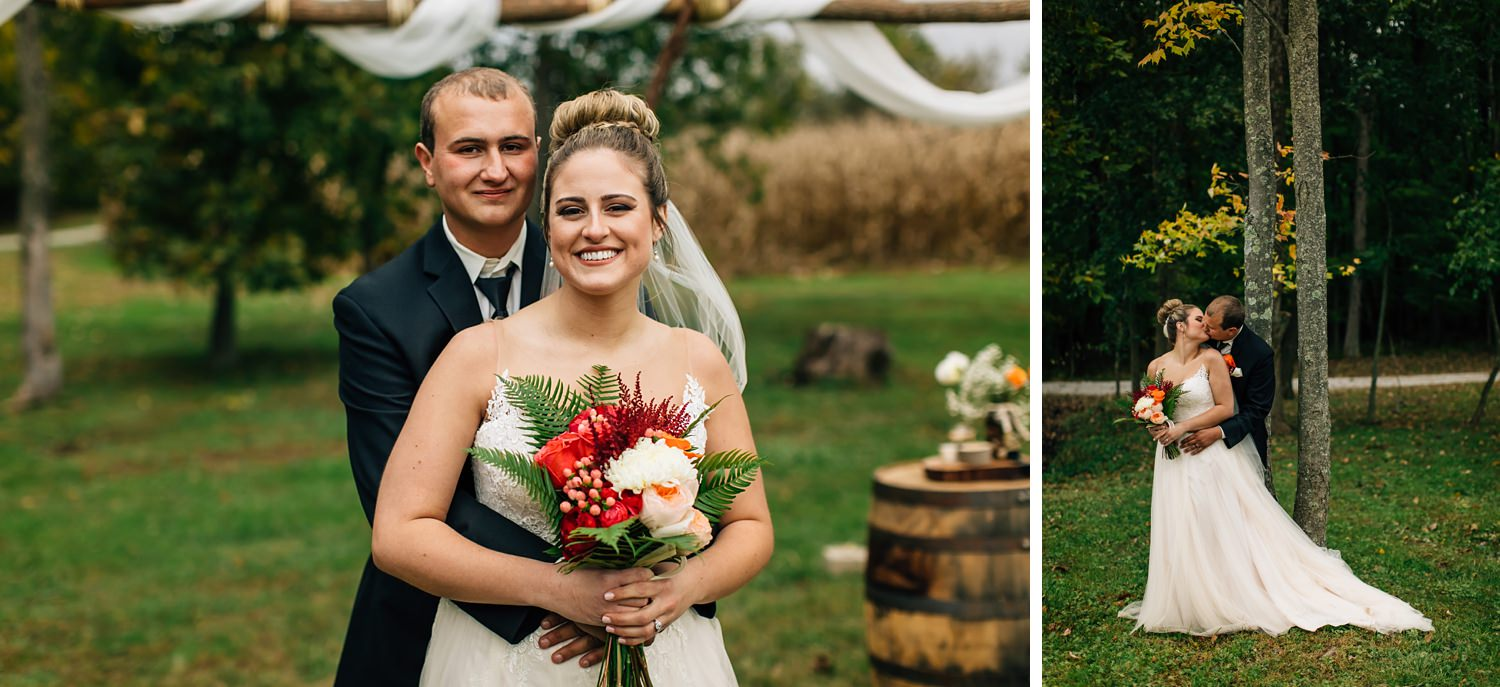 bride and groom portraits outside after bride and groom after small wedding ceremony in johnstown ohio