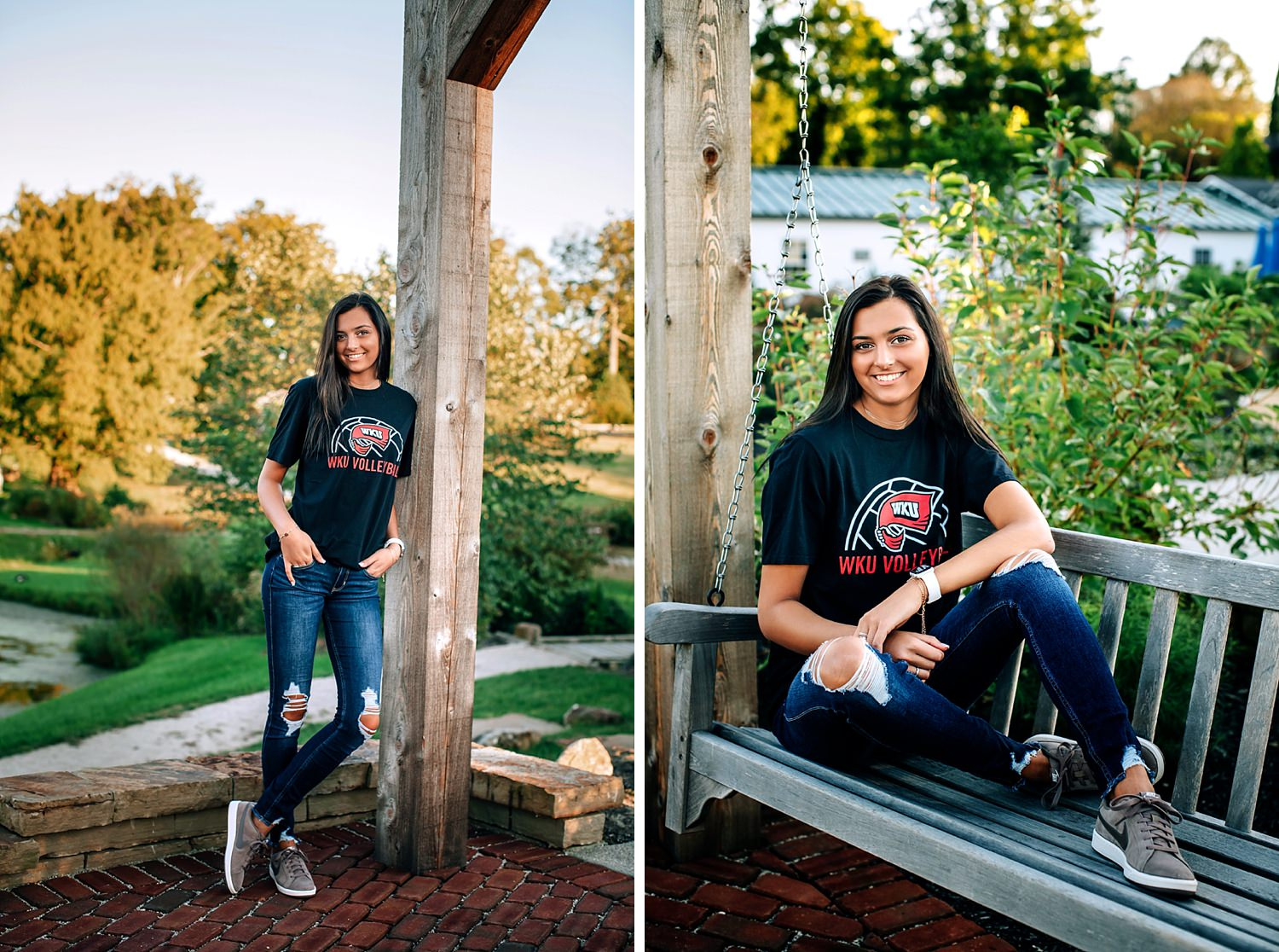girl posing in nature wearing WKU shirt