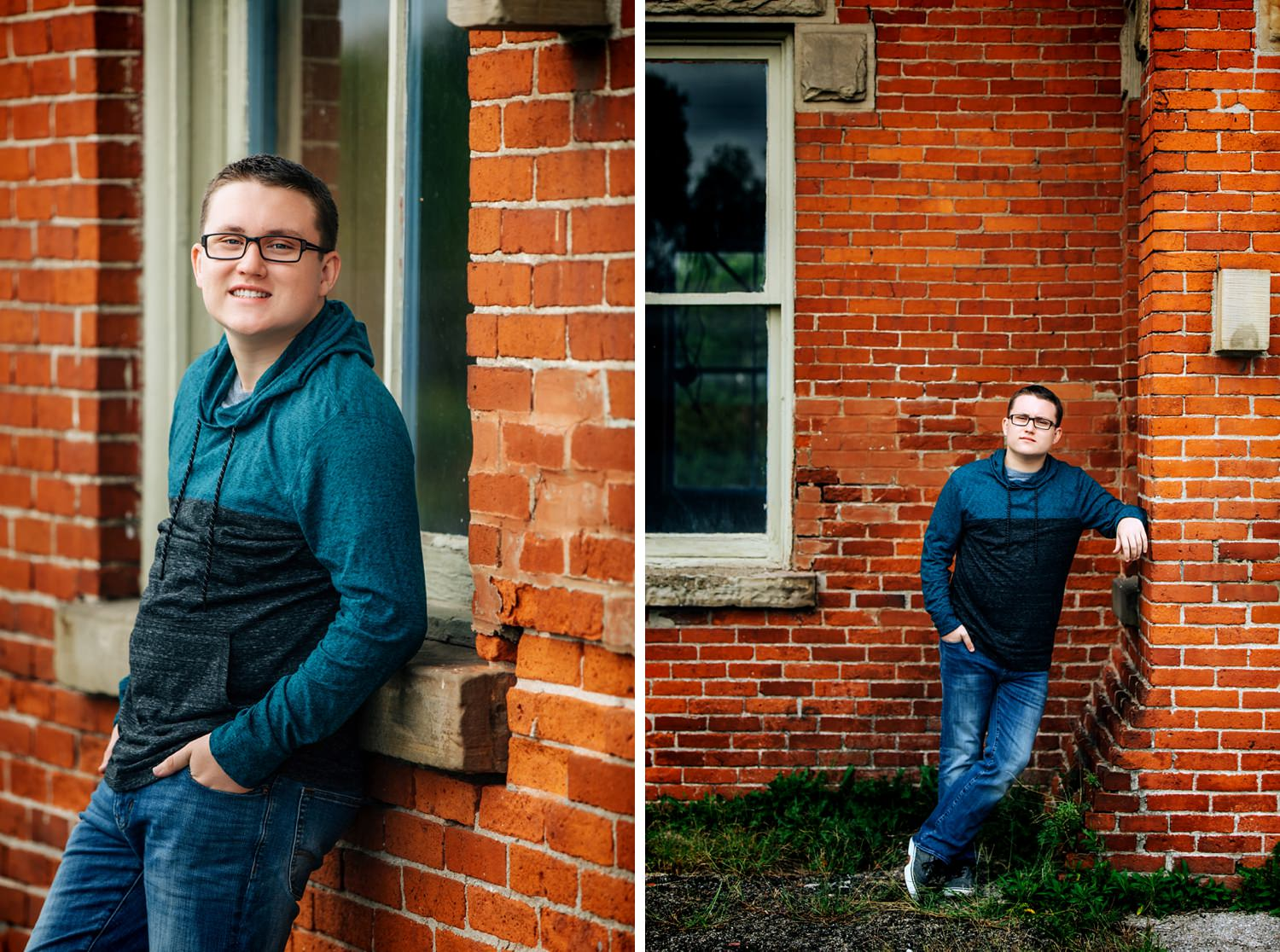 guy posing naturally against brick wall for senior portraits in delaware ohio