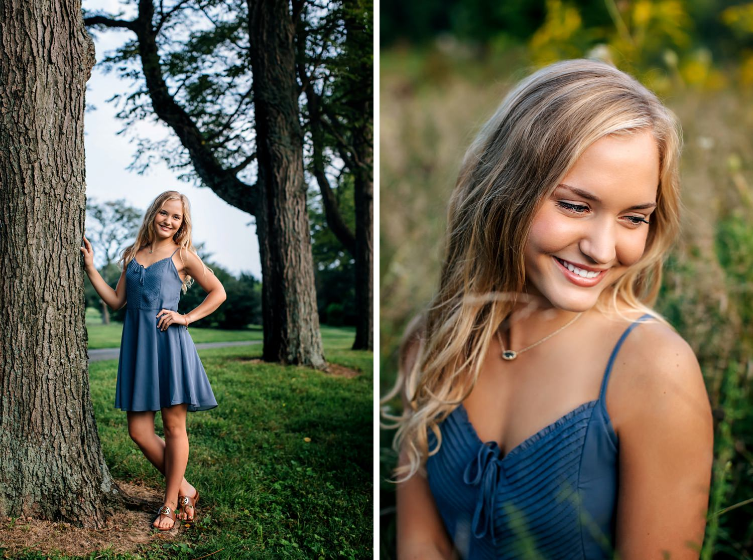 girl posing against tree during golden hour for senior portraits