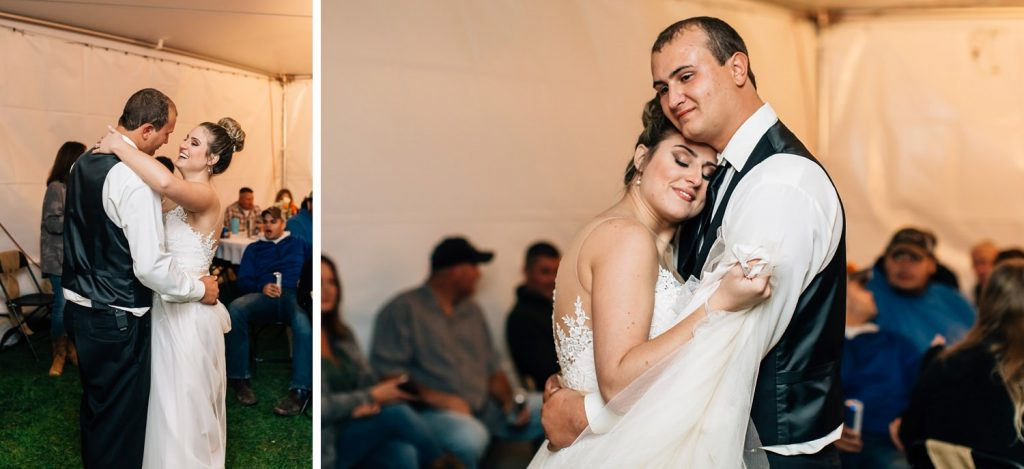 bride and groom first dance during tent reception at intimate backyard wedding ceremony in johnstown ohio